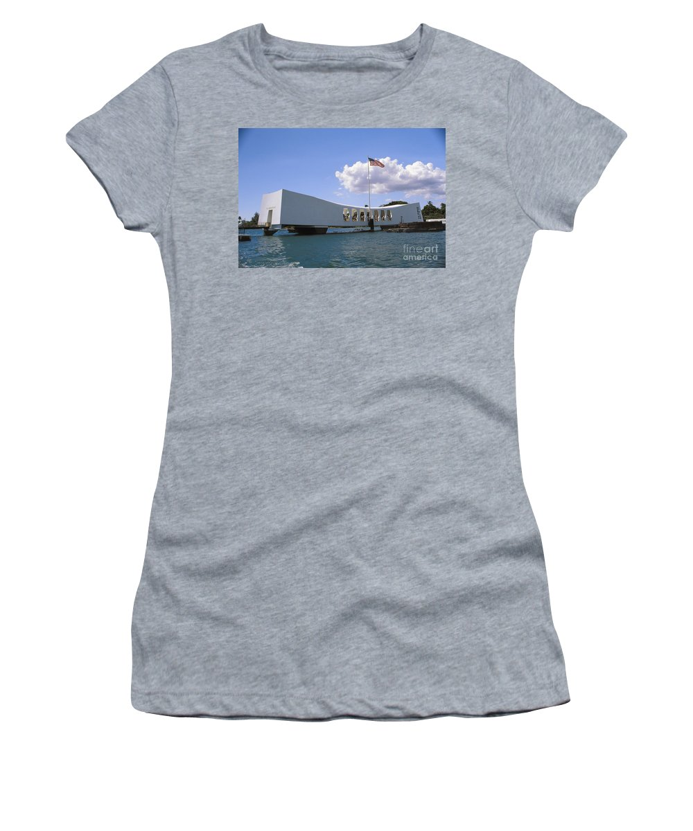 American Women's T-Shirt (Athletic Fit) featuring the photograph Arizona Memorial by Joe Carini - Printscapes