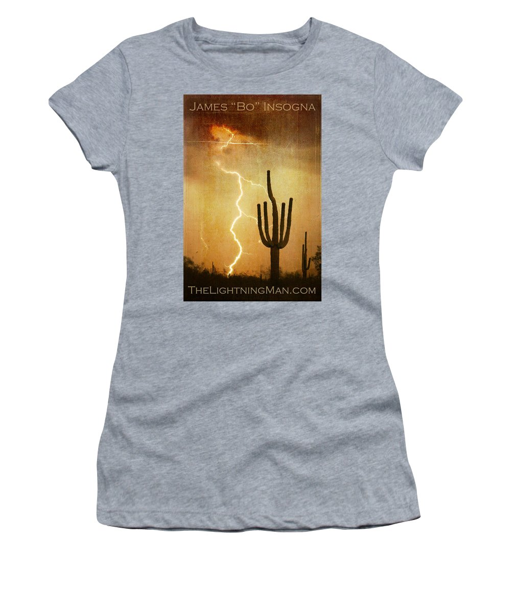 Arizona Women's T-Shirt featuring the photograph Arizona Saguaro Lightning Strike Poster Print by James BO Insogna