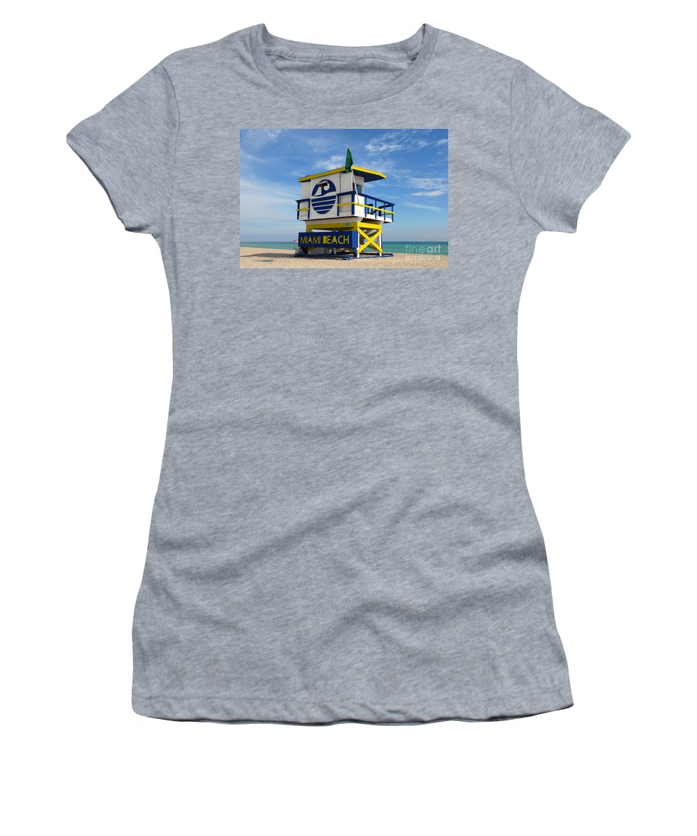 Miami Beach Women's T-Shirt featuring the photograph Art Deco Lifeguard Stand by David Lee Thompson