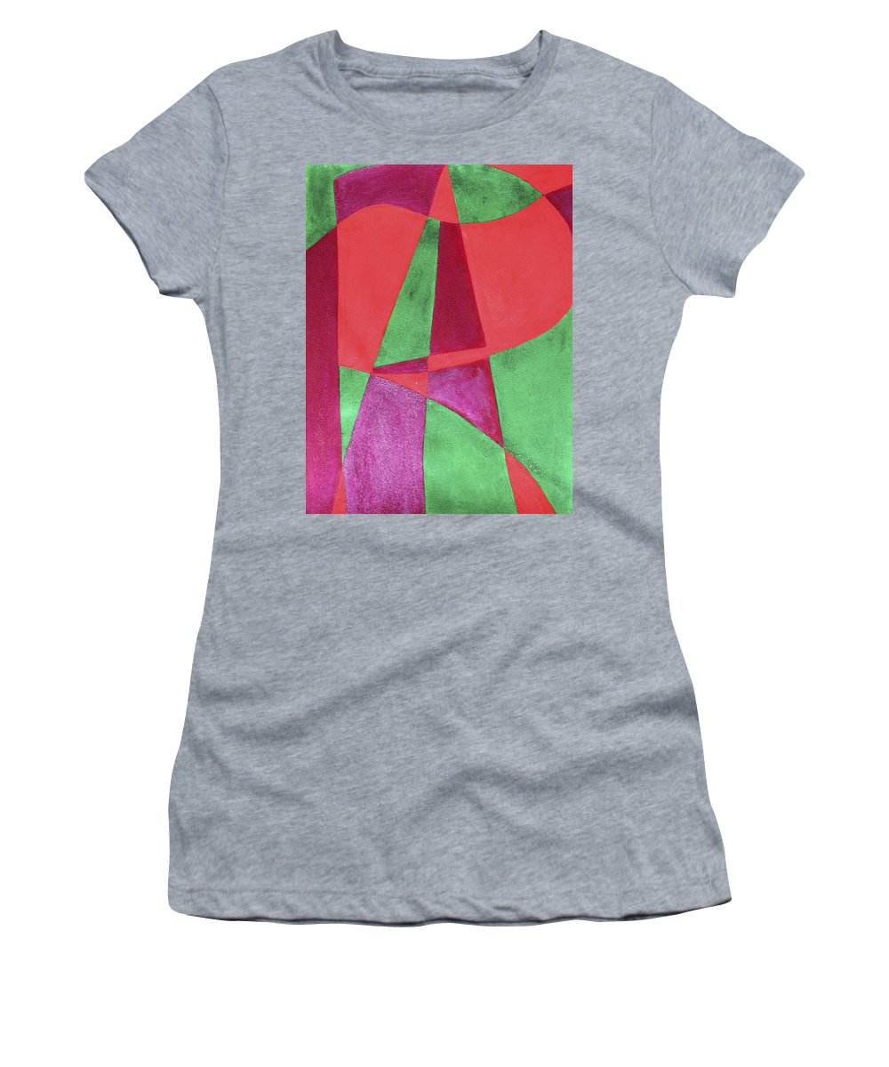 Abstract Women's T-Shirt (Athletic Fit) featuring the painting Art Painted In Abstract by Lee Serenethos
