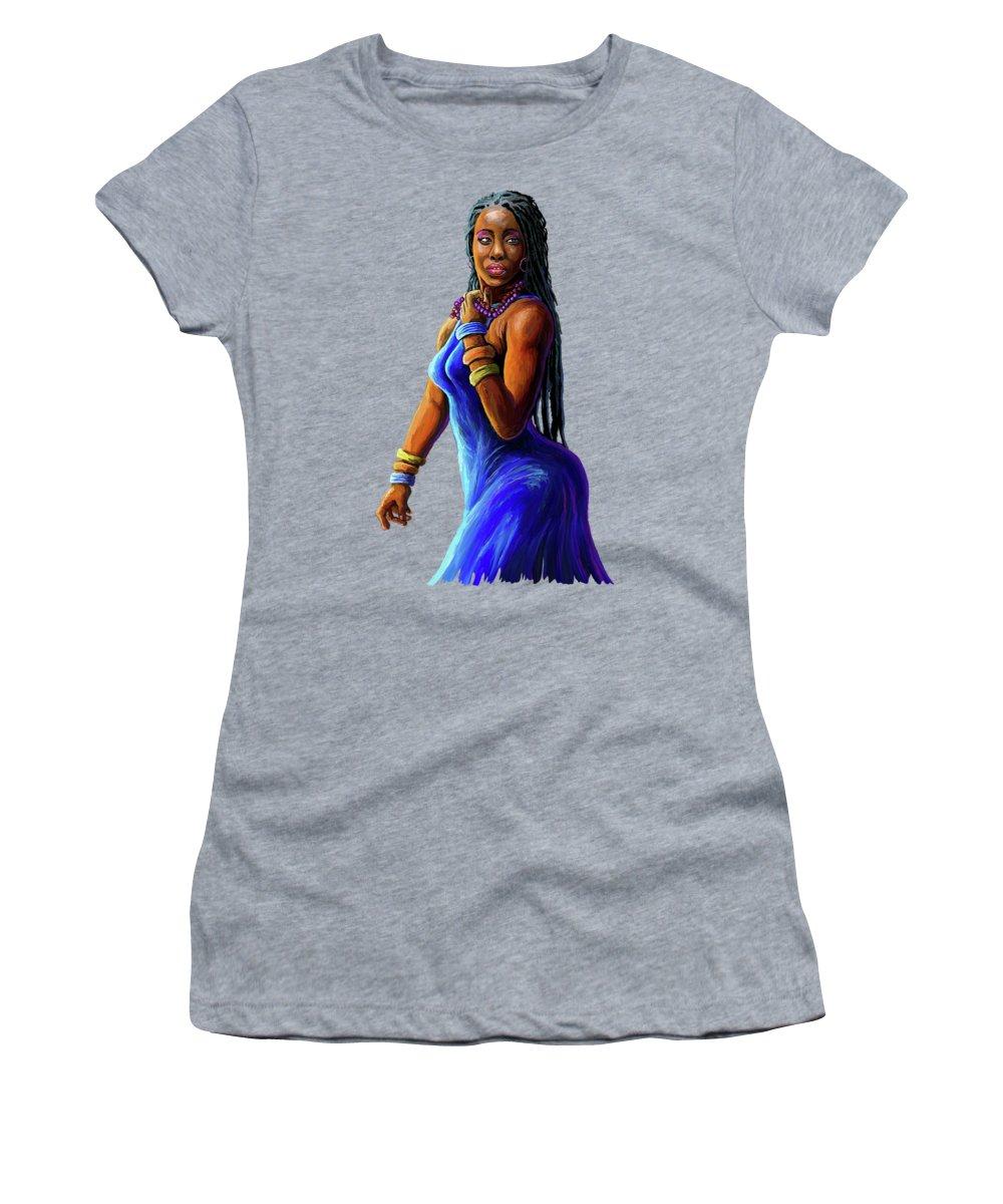 Blue Dress Paintings Women's T-Shirts