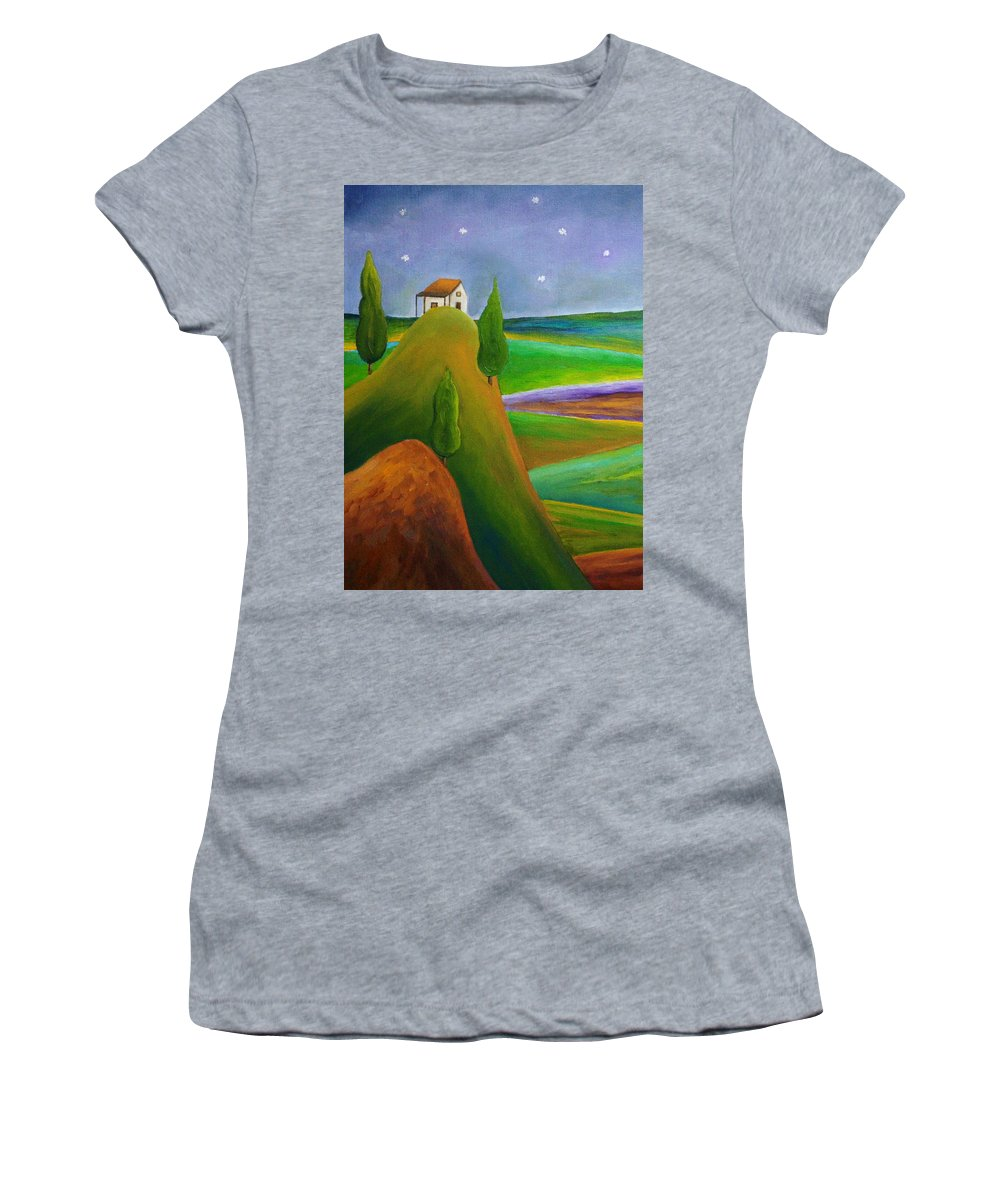 Landscape Women's T-Shirt featuring the painting Starry Summer Night by Angeles M Pomata