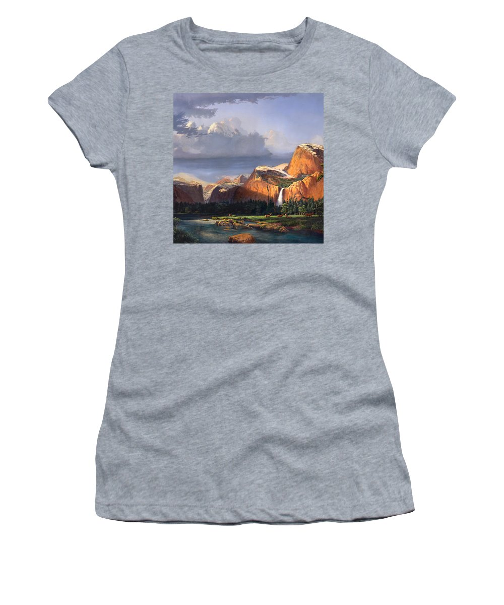 American Women's T-Shirt (Athletic Fit) featuring the painting Deer Meadow Mountains Western Stream Deer Waterfall Landscape Oil Painting Stormy Sky Snow Scene by Walt Curlee