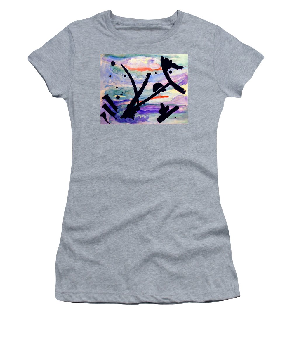 Abstract Women's T-Shirt (Athletic Fit) featuring the painting Asian Impression by Steve Karol
