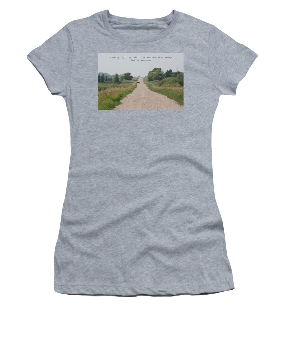 Jack Ass Donkey Road Trees Farm Ranch Mule Grass Prairie Saskatchewan Women's T-Shirt (Athletic Fit) featuring the photograph Ass Next Door by Andrea Lawrence