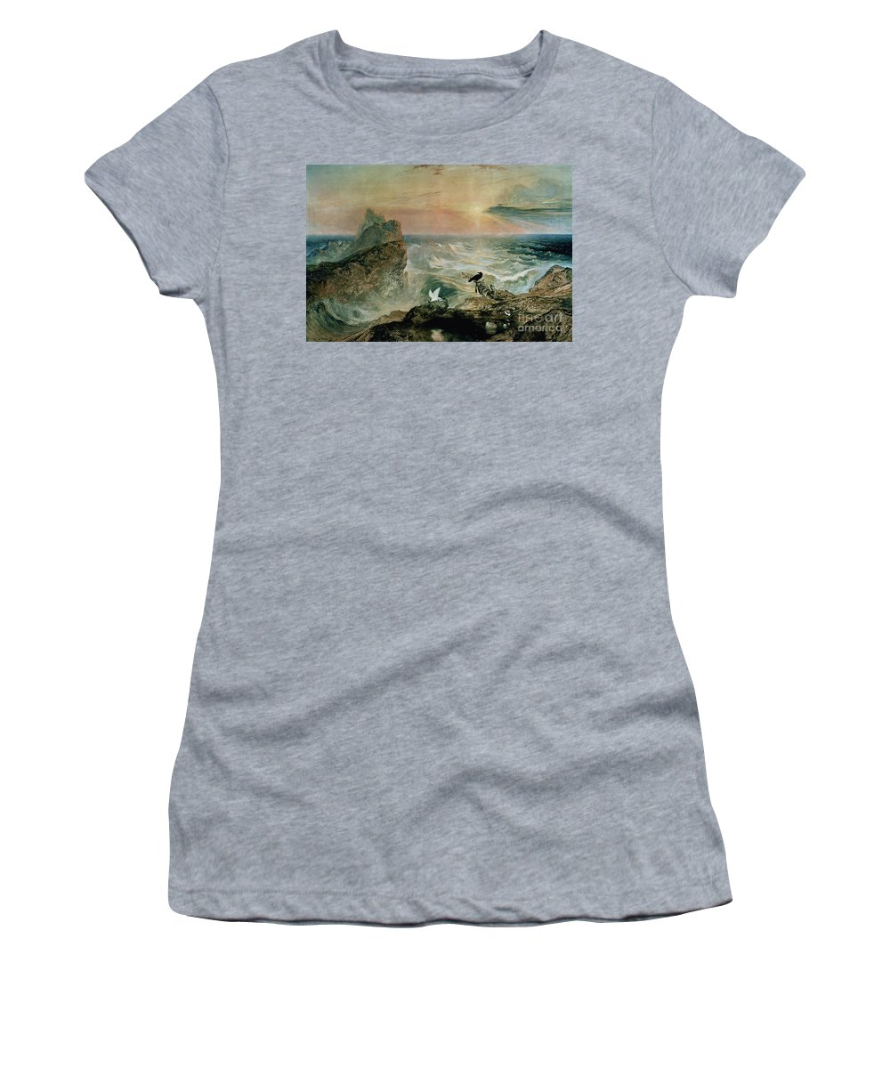 Assuaging Of The Waters By John Martin (1789-1854) Women's T-Shirt (Athletic Fit) featuring the painting Assuaging Of The Waters by John Martin