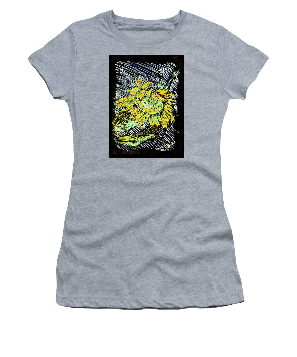Sunflower Women's T-Shirt (Athletic Fit) featuring the mixed media Astoria Sunflower Study 2 by Vincent Mantia