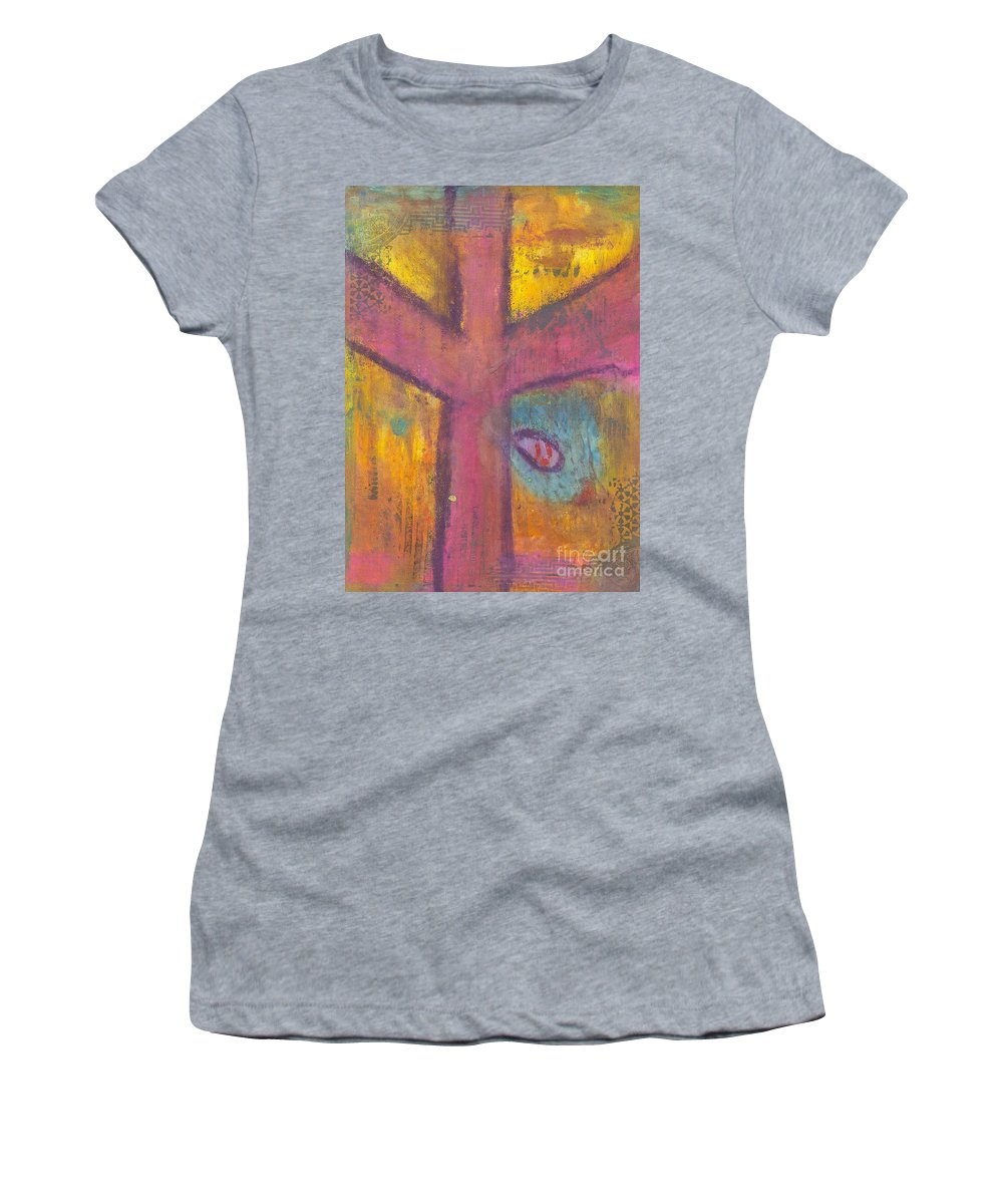 Cross Women's T-Shirt (Athletic Fit) featuring the mixed media At The Cross by Angela L Walker