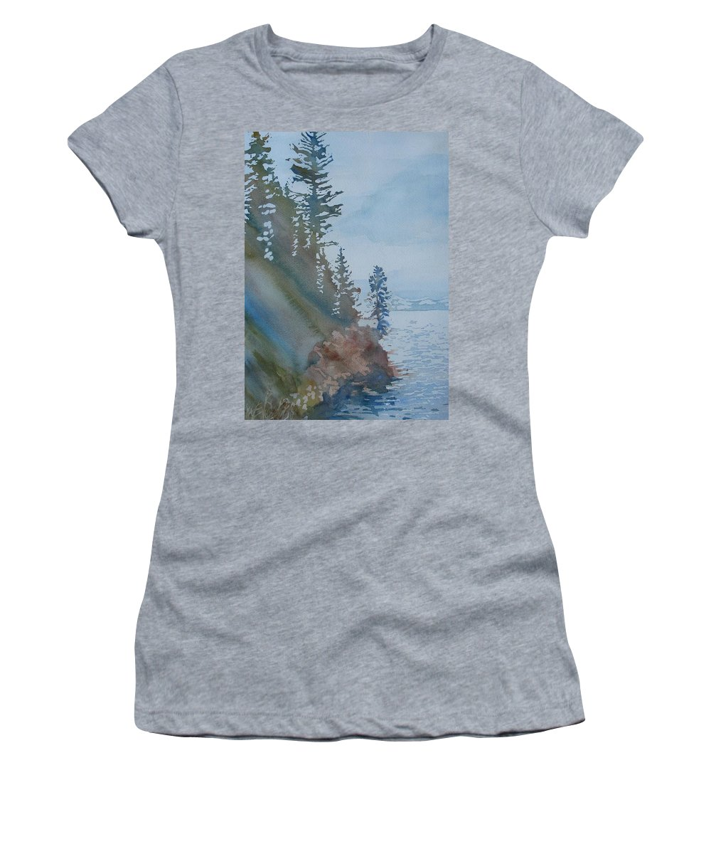 Watercolor Women's T-Shirt (Athletic Fit) featuring the painting At The Water's Edge by Jenny Armitage