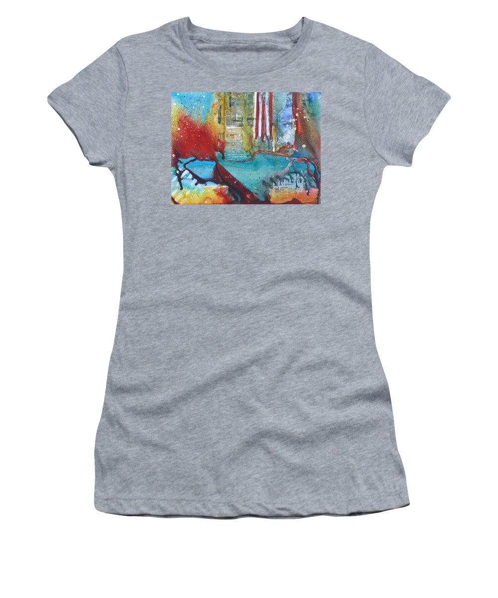 Abstract Women's T-Shirt (Athletic Fit) featuring the painting Atlantis Crashing Into The Sea by Ruth Kamenev