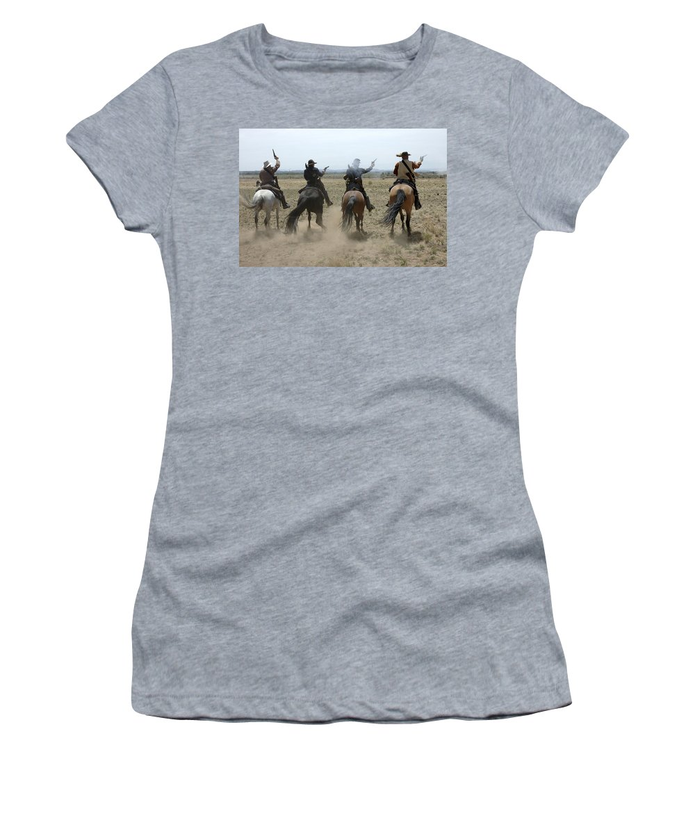 Old West Women's T-Shirt (Athletic Fit) featuring the photograph Attack by Jerry McElroy