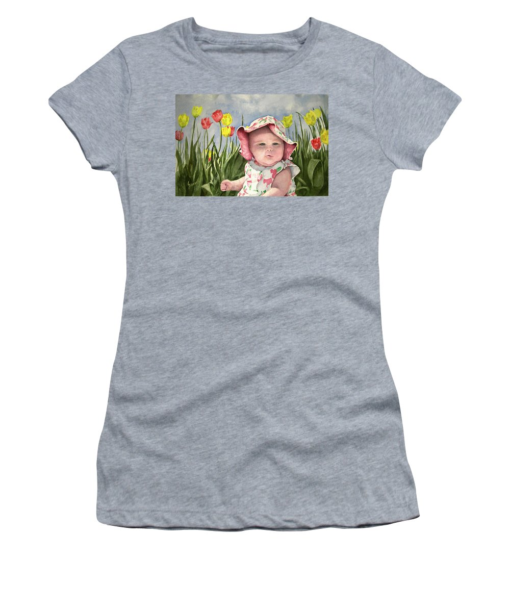 Kids Women's T-Shirt (Athletic Fit) featuring the painting Audrey by Sam Sidders