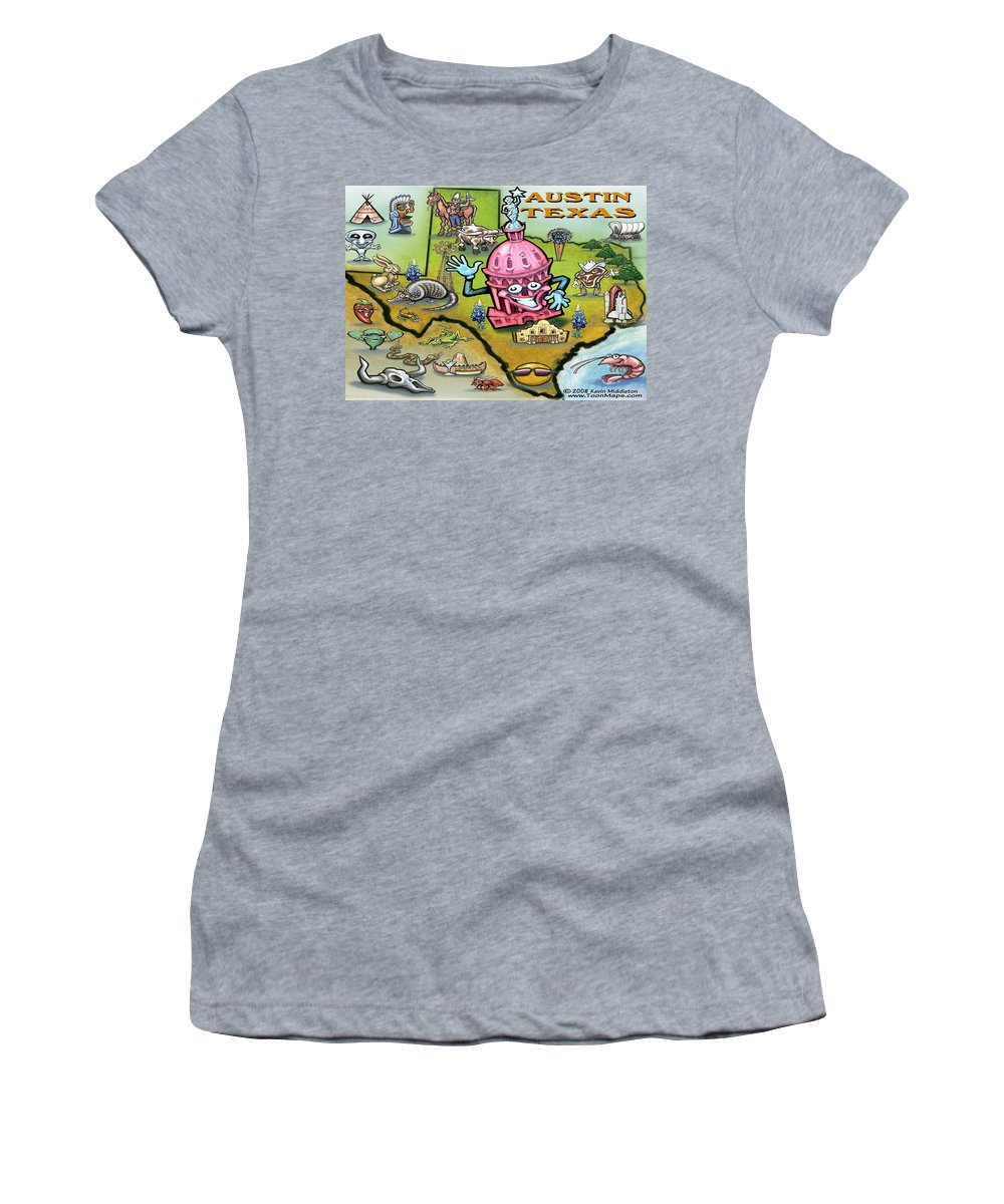 Austin Women's T-Shirt featuring the digital art Austin Texas Cartoon Map by Kevin Middleton