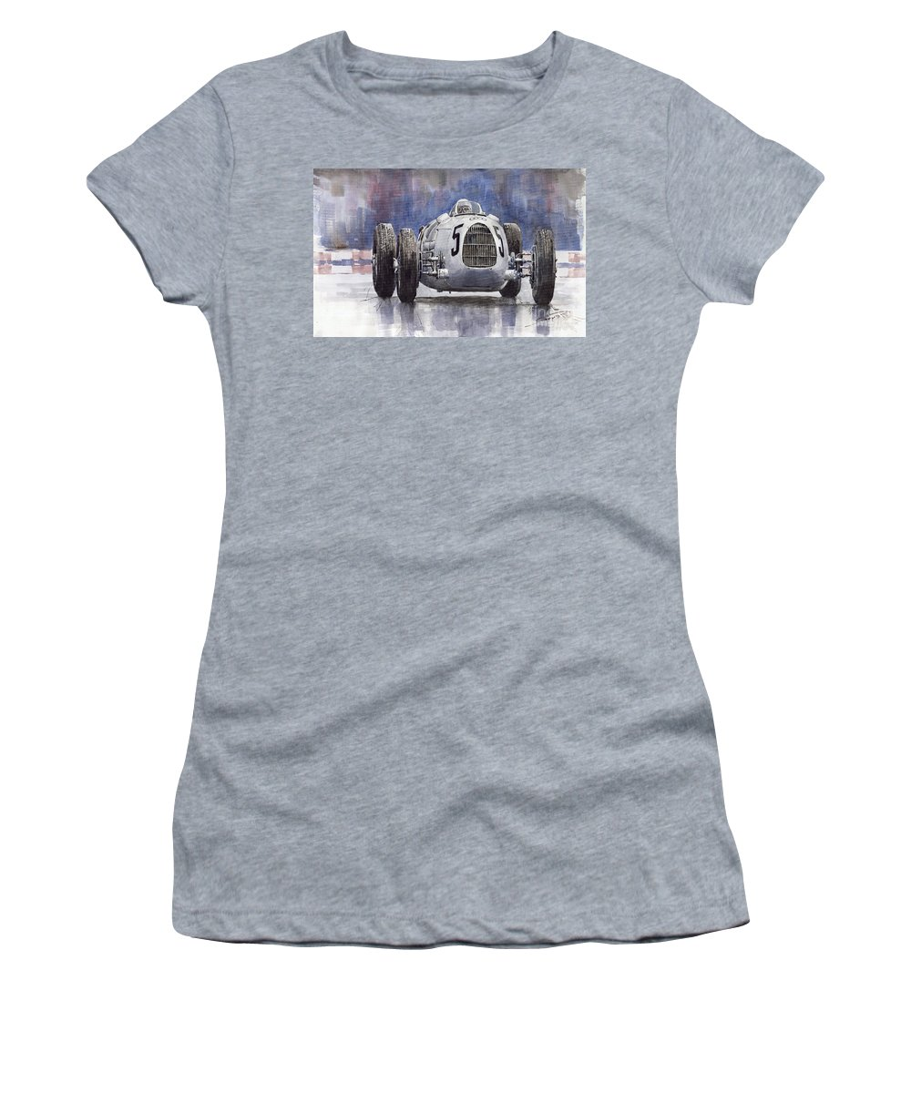 Auto Women's T-Shirt (Athletic Fit) featuring the painting Auto-union Type C 1936 by Yuriy Shevchuk