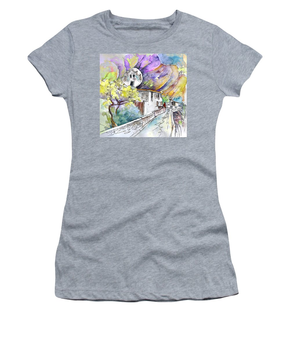 Arnedillo Women's T-Shirt featuring the painting Autol In La Rioja Spain 03 by Miki De Goodaboom