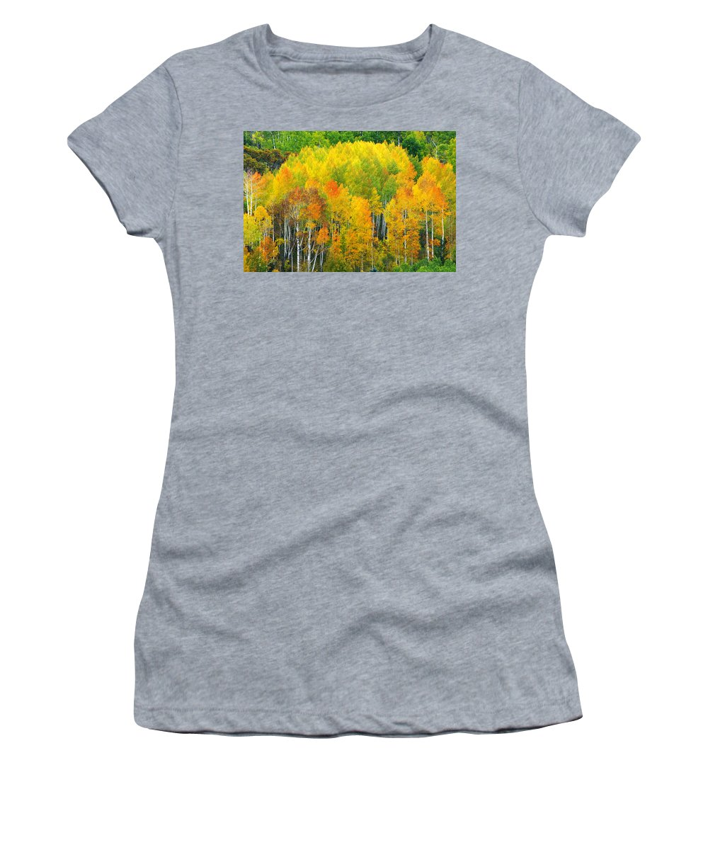 Horizontal Women's T-Shirt (Athletic Fit) featuring the photograph Autumn Aspens by Eggers Photography