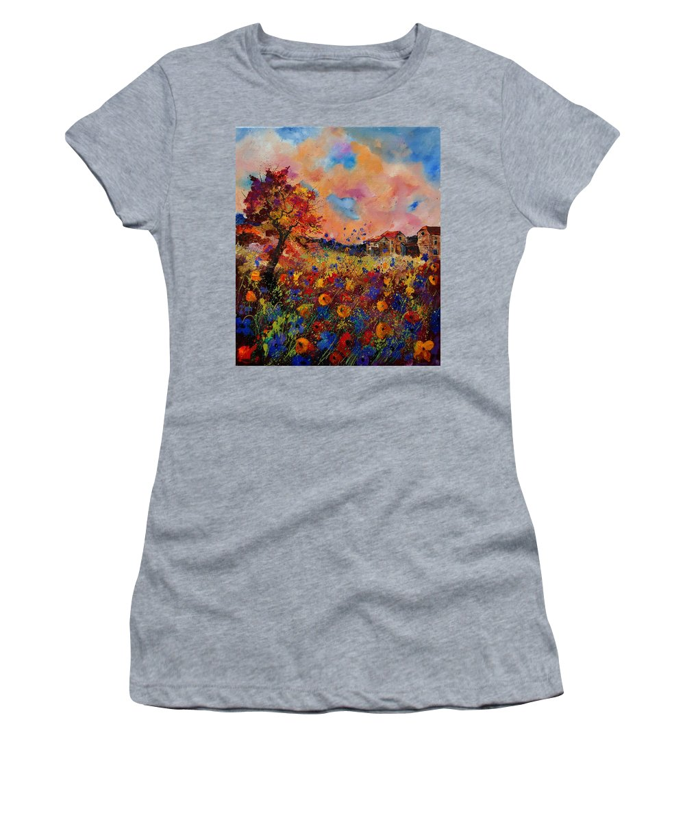 Poppies Women's T-Shirt (Athletic Fit) featuring the painting Autumn Colors by Pol Ledent