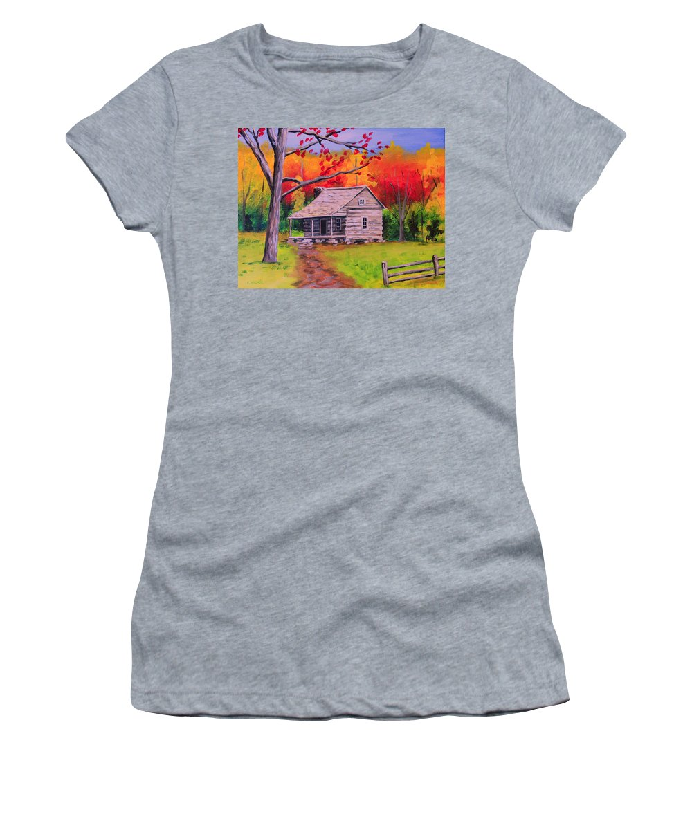 Cabin Women's T-Shirt featuring the painting Autumn Home by Karl Wagner