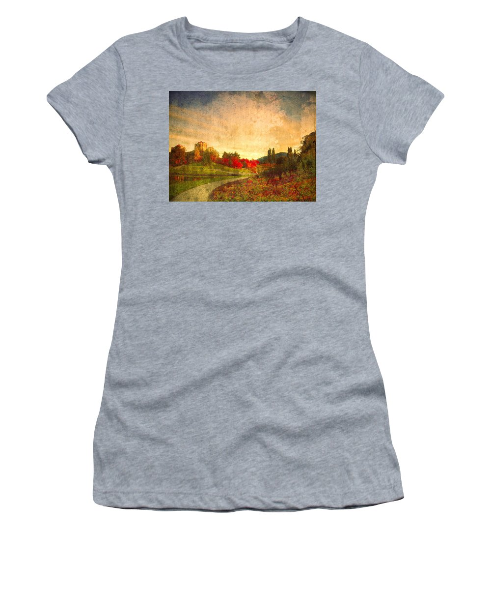 Kelowna Women's T-Shirt (Athletic Fit) featuring the photograph Autumn In The City 2 by Tara Turner