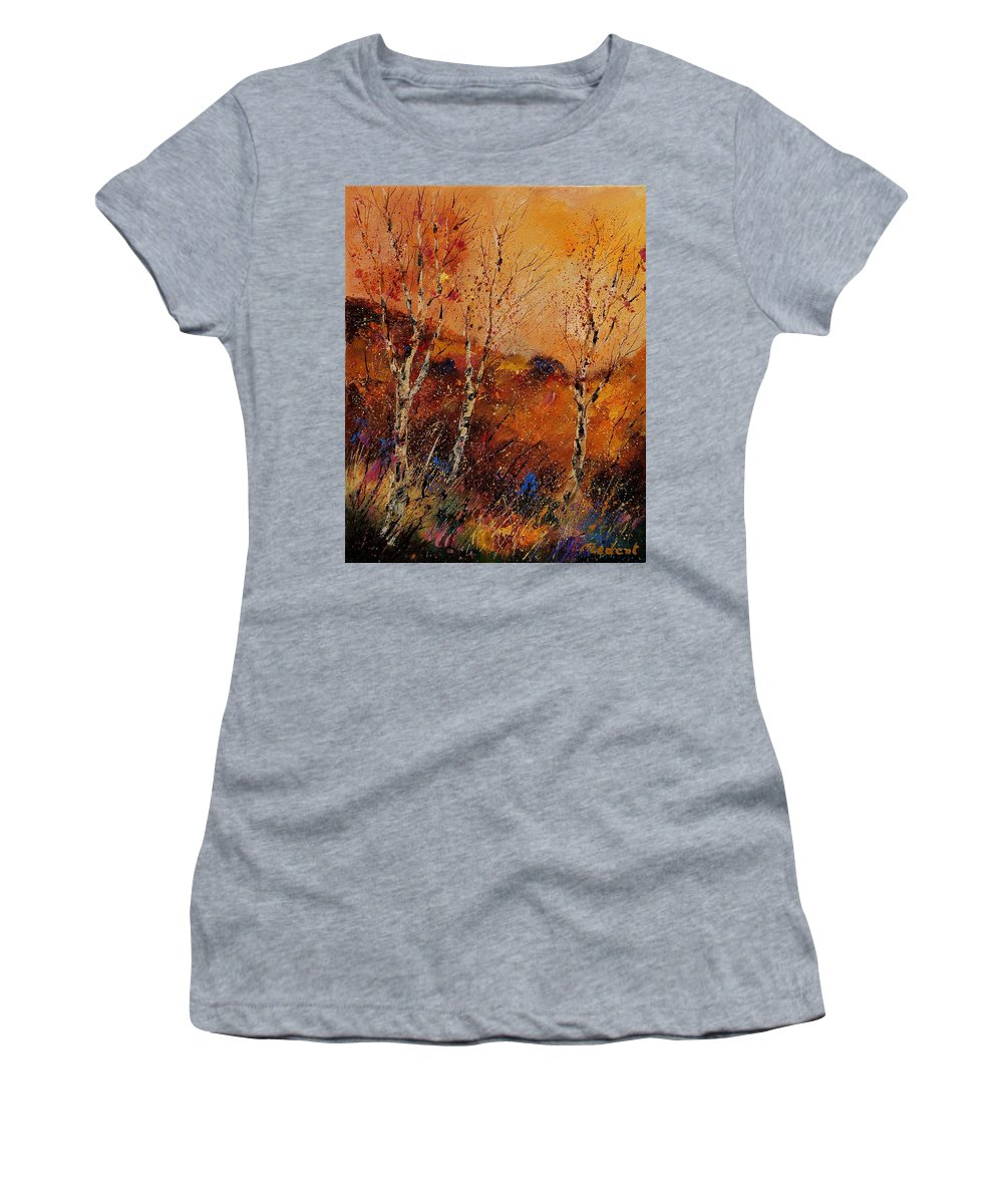 Tree Women's T-Shirt featuring the painting Autumn Landscape 45 by Pol Ledent