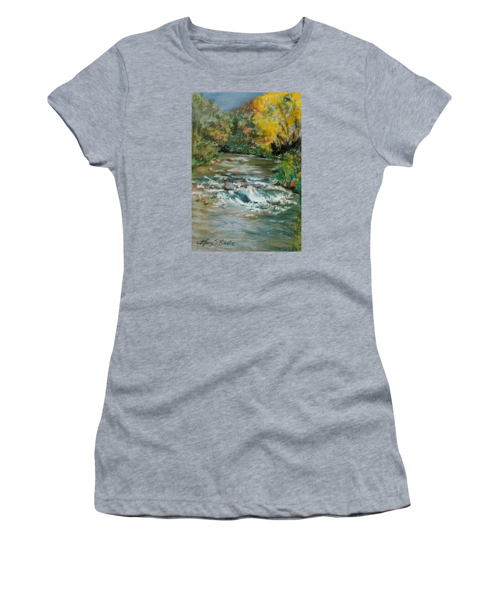 River Women's T-Shirt (Athletic Fit) featuring the painting Autumn Rush by Mary Benke