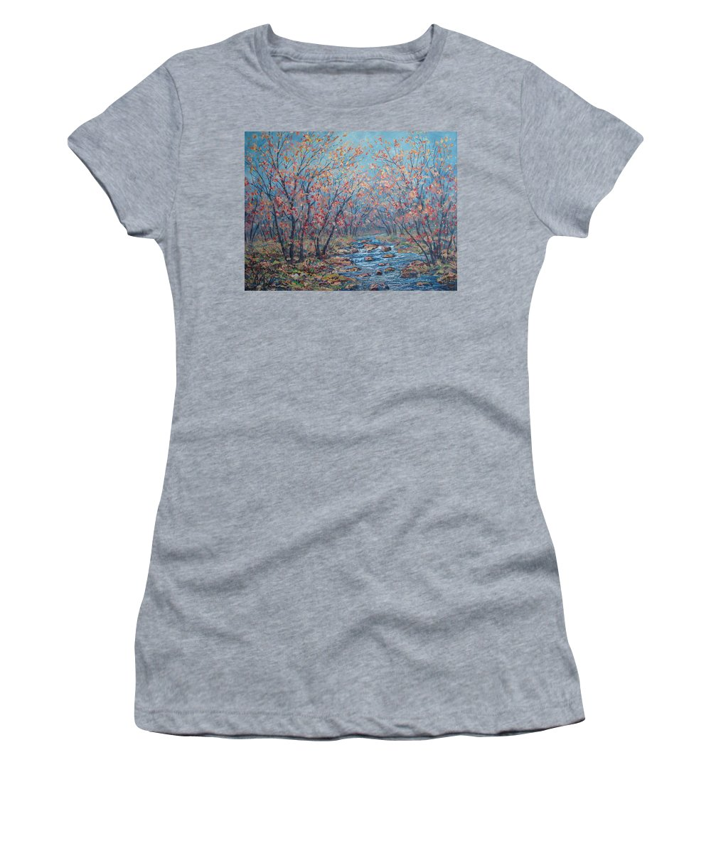 Landscape Women's T-Shirt (Athletic Fit) featuring the painting Autumn Serenity by Leonard Holland