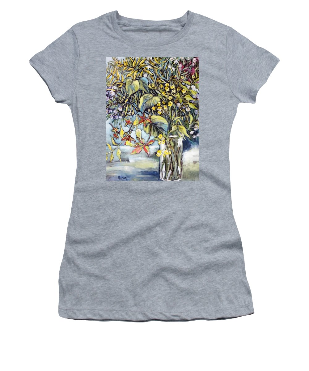 Moutains Flowers Women's T-Shirt (Athletic Fit) featuring the painting Autumn Still Life by Cathy MONNIER