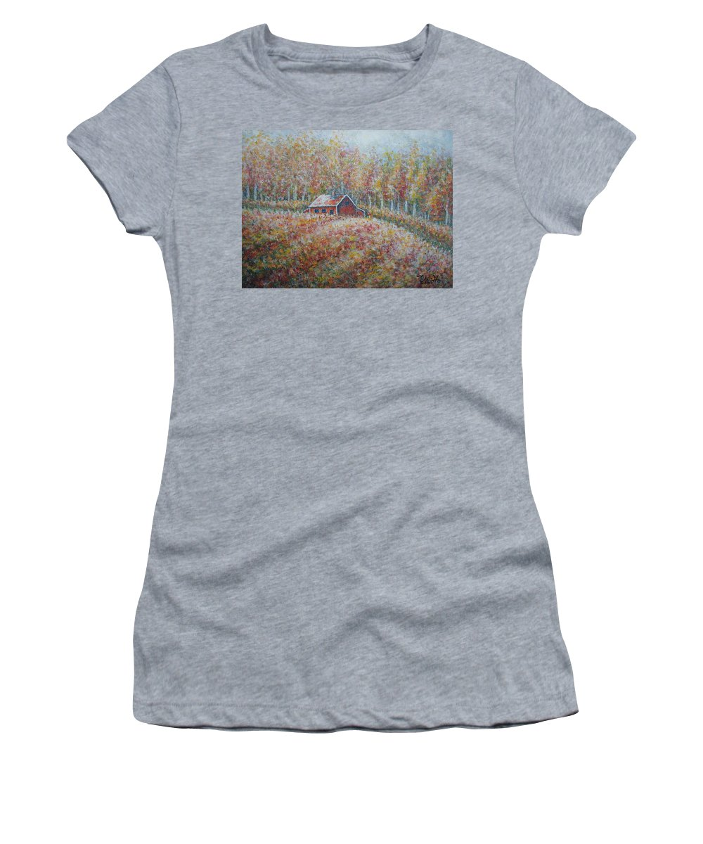 Landscape Women's T-Shirt (Athletic Fit) featuring the painting Autumn Whisper. by Natalie Holland