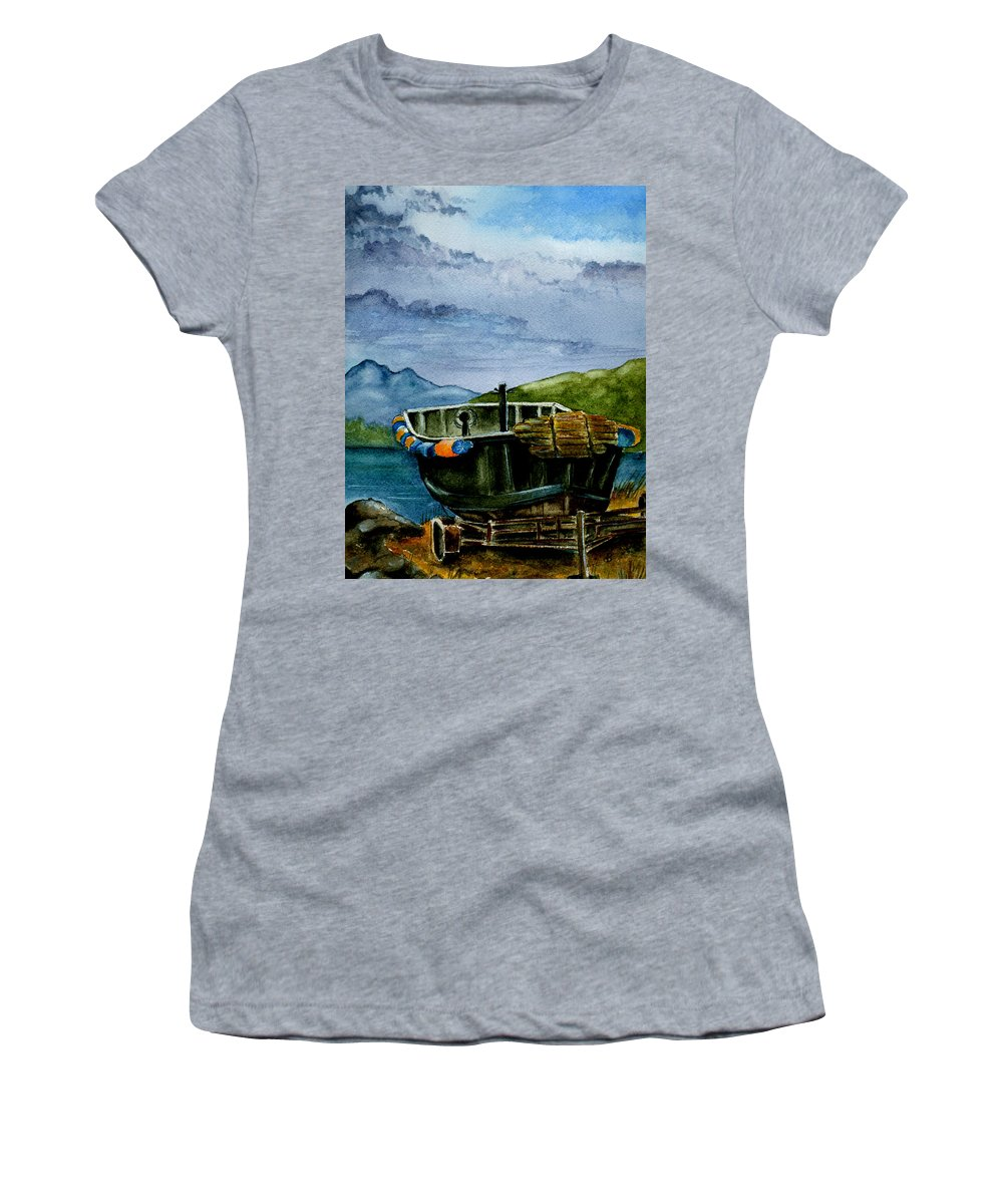Watercolor Women's T-Shirt featuring the painting Awaiting The Season by Brenda Owen