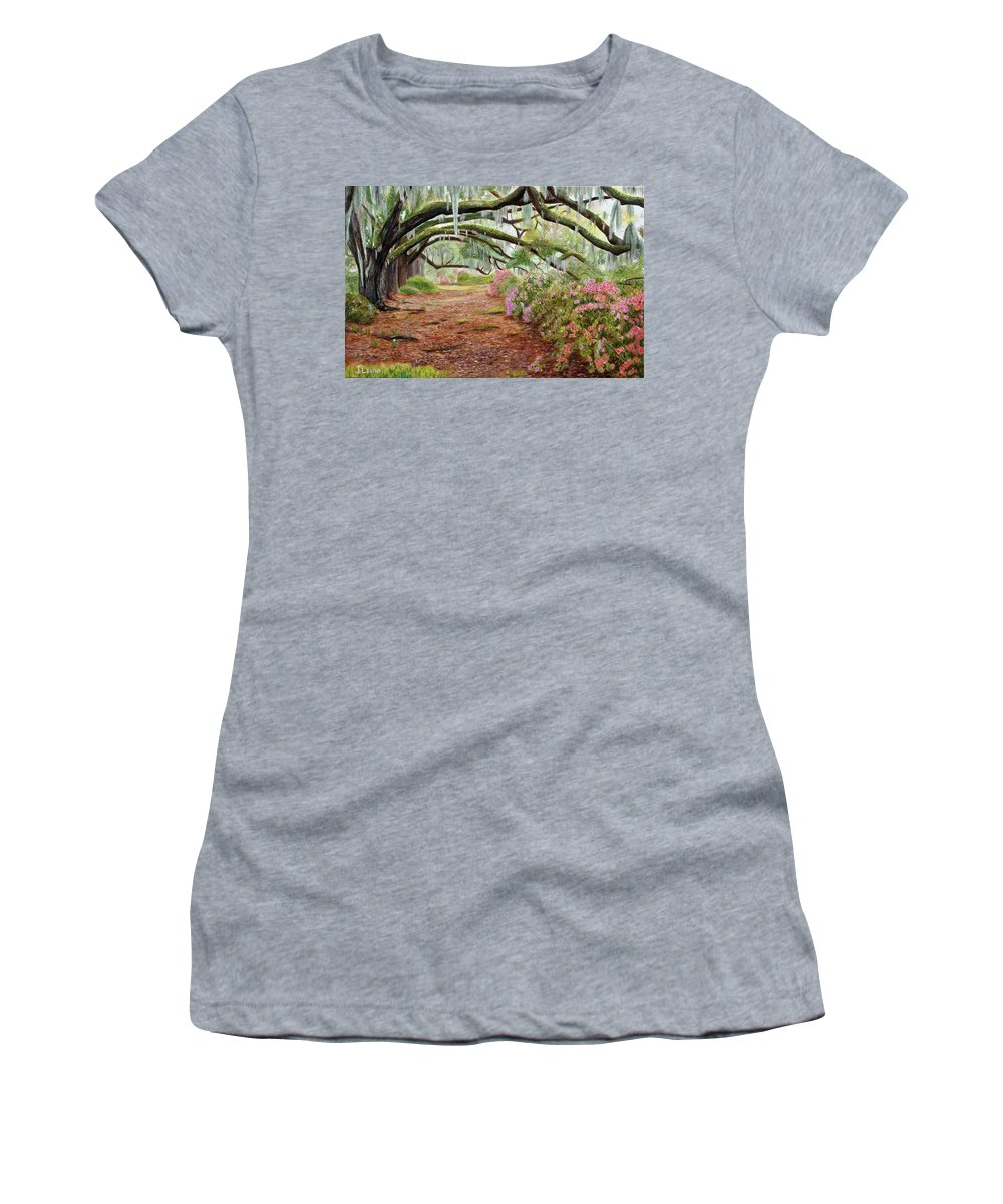 Azaleas Women's T-Shirt (Athletic Fit) featuring the painting Azalea Alley by Jennifer Levins