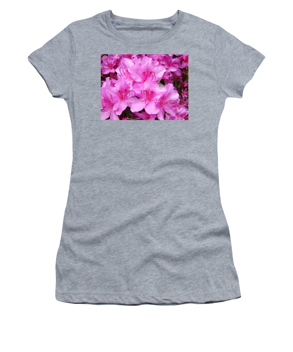 Azalea Women's T-Shirt (Athletic Fit) featuring the photograph Azalea Floral Garden Fine Art Photography Baslee Troutman by Baslee Troutman