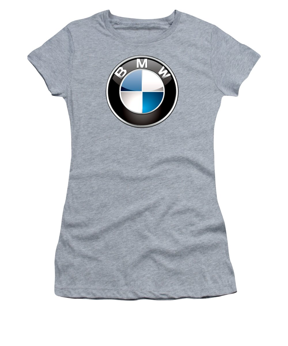 'auto Badges 3d' By Serge Averbukh Women's T-Shirt featuring the photograph B M W Badge On Red by Serge Averbukh