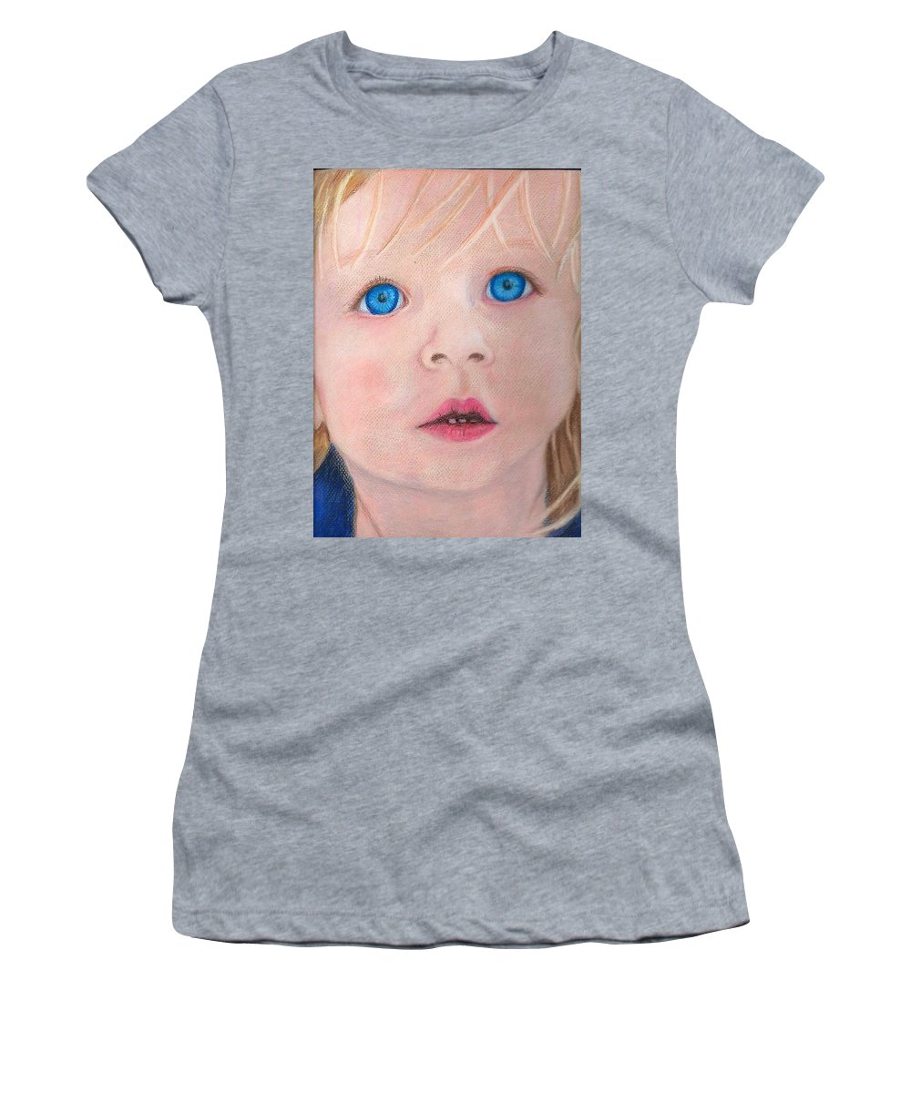 Girl Women's T-Shirt (Athletic Fit) featuring the drawing Baby Blue Eyes by Suzan Arizpe