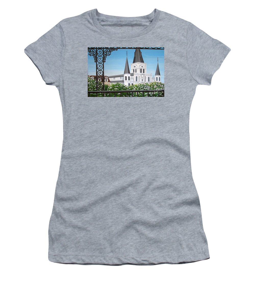 New Orleans Women's T-Shirt (Athletic Fit) featuring the painting Balcony View Of St Louis Cathedral by Valerie Carpenter