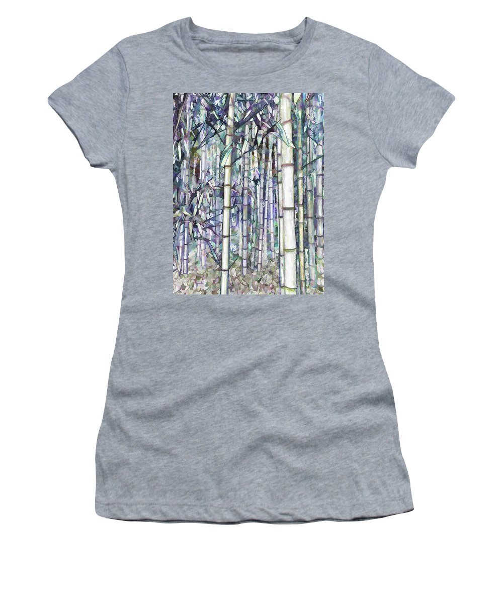 Bamboo Women's T-Shirt featuring the painting Bamboo Grove by Jeelan Clark