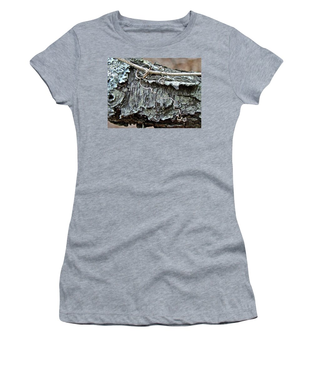 Tree Women's T-Shirt (Athletic Fit) featuring the photograph Bark - Lichen - Cat Brier Tendrils by Mother Nature