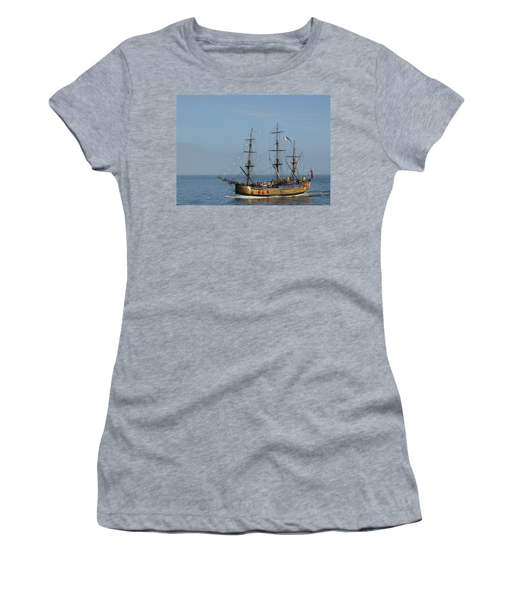 Europe Women's T-Shirt (Athletic Fit) featuring the photograph Bark Endeavour - Whitby by Rod Johnson