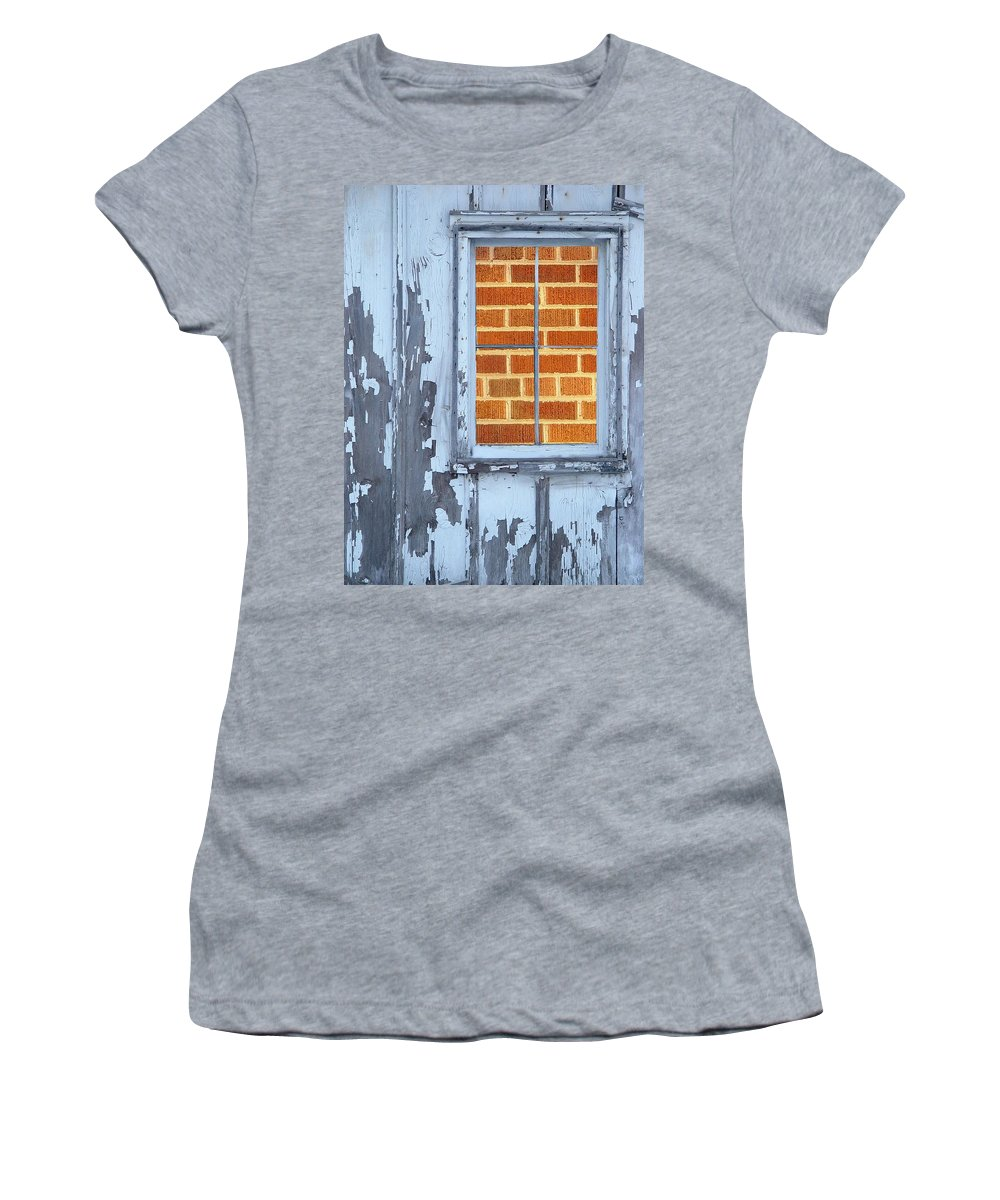 Barn Women's T-Shirt (Athletic Fit) featuring the photograph Barn Brick Window by Tim Allen