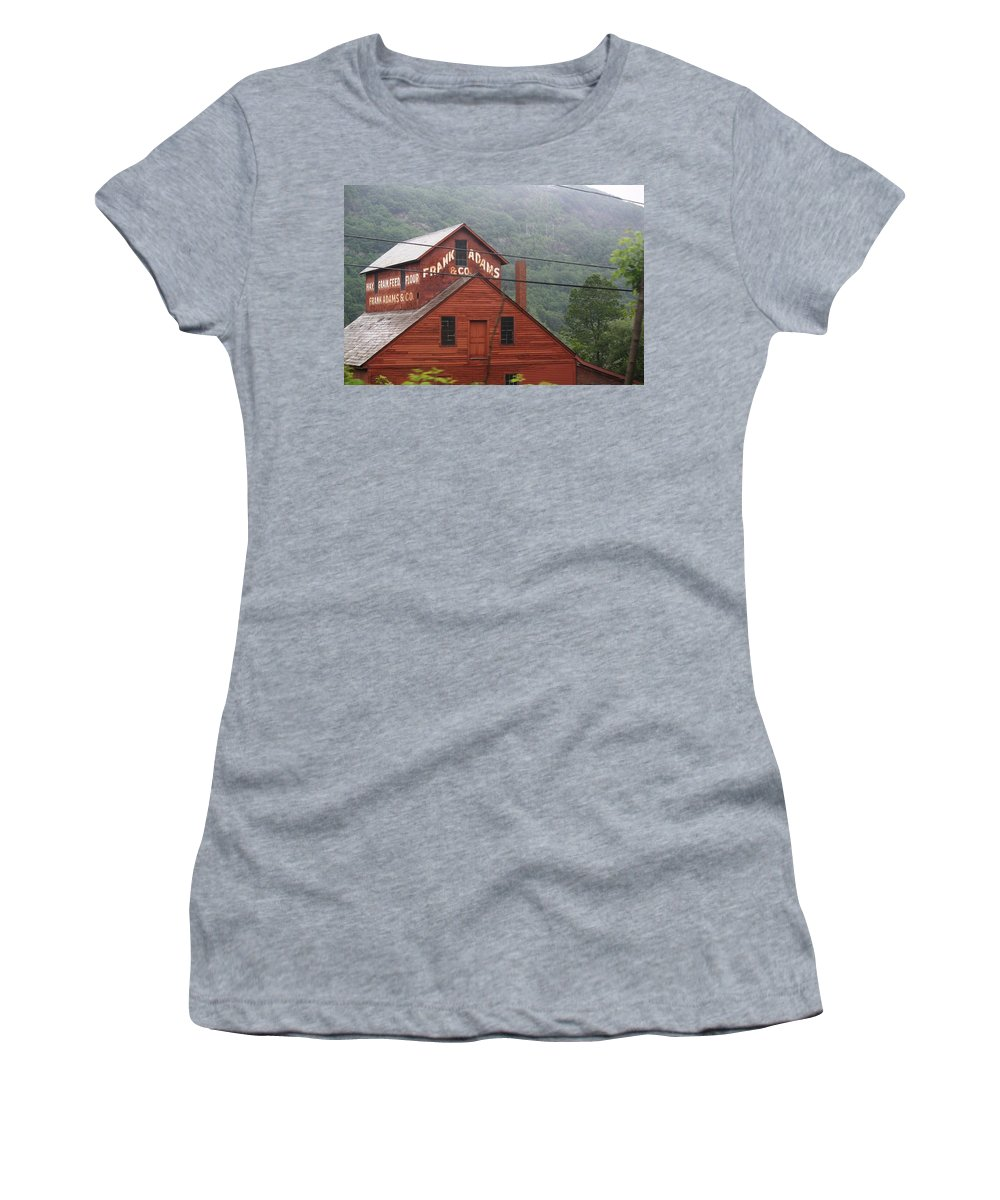 Barn Women's T-Shirt (Athletic Fit) featuring the photograph Barn In Vermont Along Amtrack by Donna Walsh