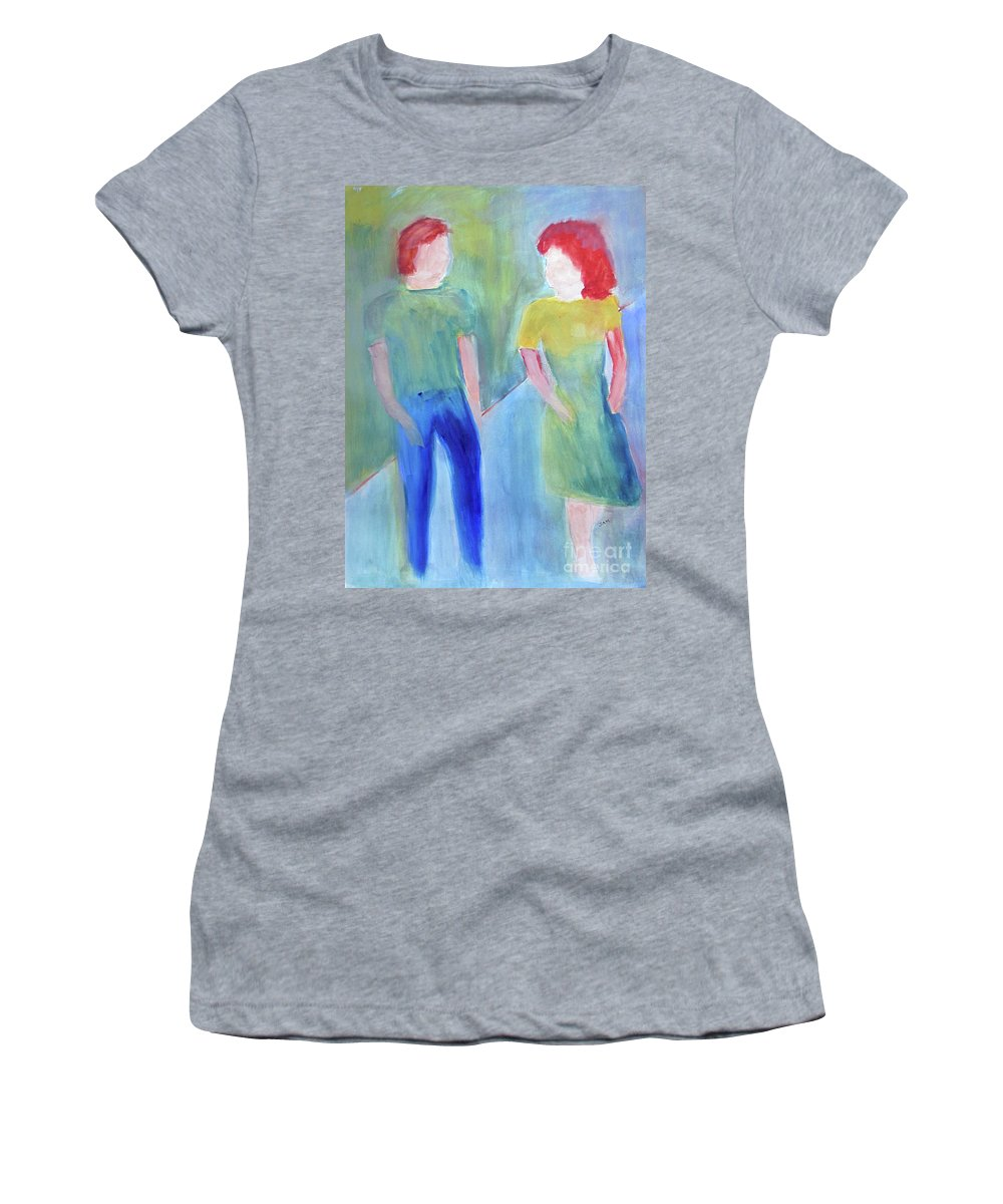 Boy Women's T-Shirt (Athletic Fit) featuring the painting Barney And Elizabeth by Sandy McIntire