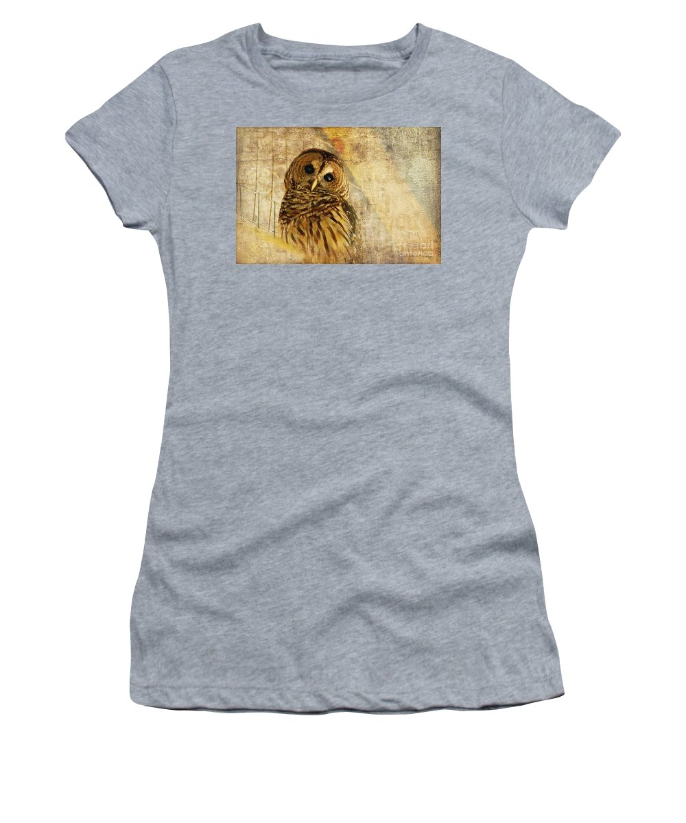 Owl Women's T-Shirt (Athletic Fit) featuring the photograph Barred Owl by Lois Bryan