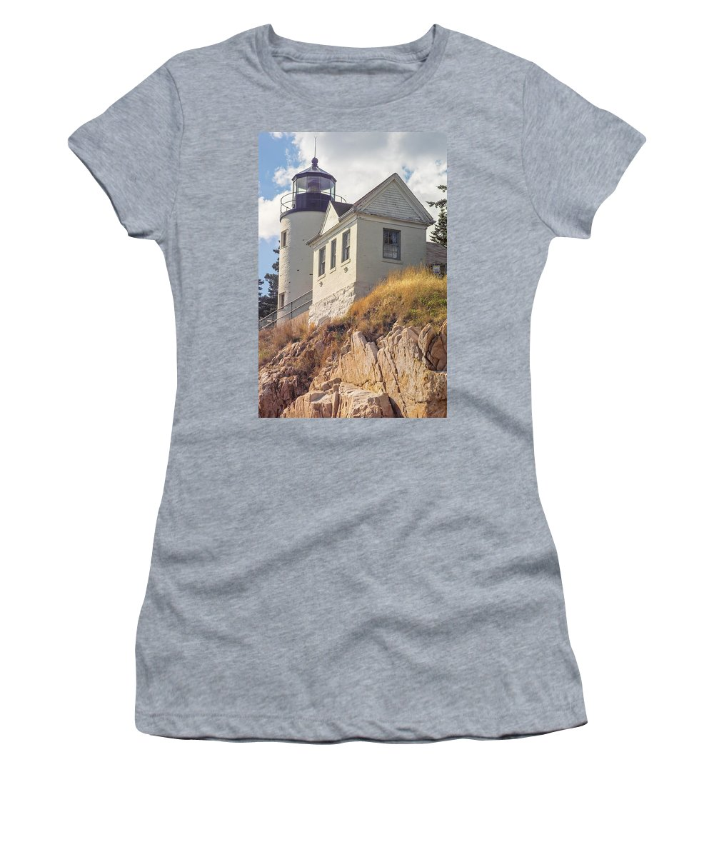Lighthouse Women's T-Shirt (Athletic Fit) featuring the photograph Bass Harbor Light Photo by Peter J Sucy