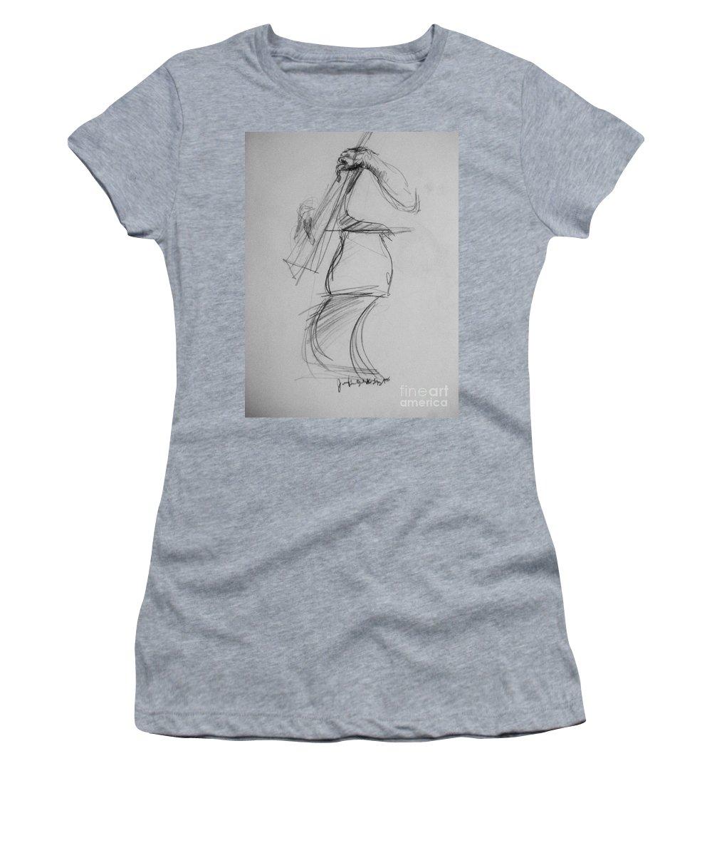 Bass Women's T-Shirt featuring the drawing Bass Man by Jamey Balester