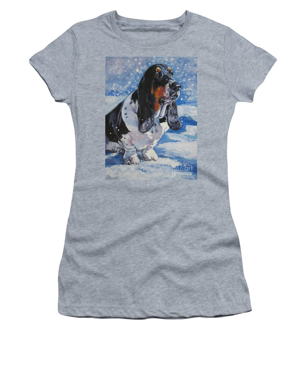 Dog Women's T-Shirt (Athletic Fit) featuring the painting basset Hound in snow by Lee Ann Shepard