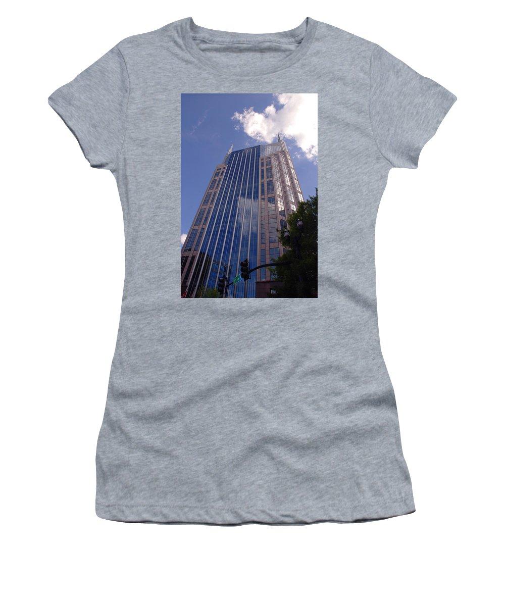 Att House Women's T-Shirt (Athletic Fit) featuring the photograph Batman Building In Down Town Nashville by Susanne Van Hulst