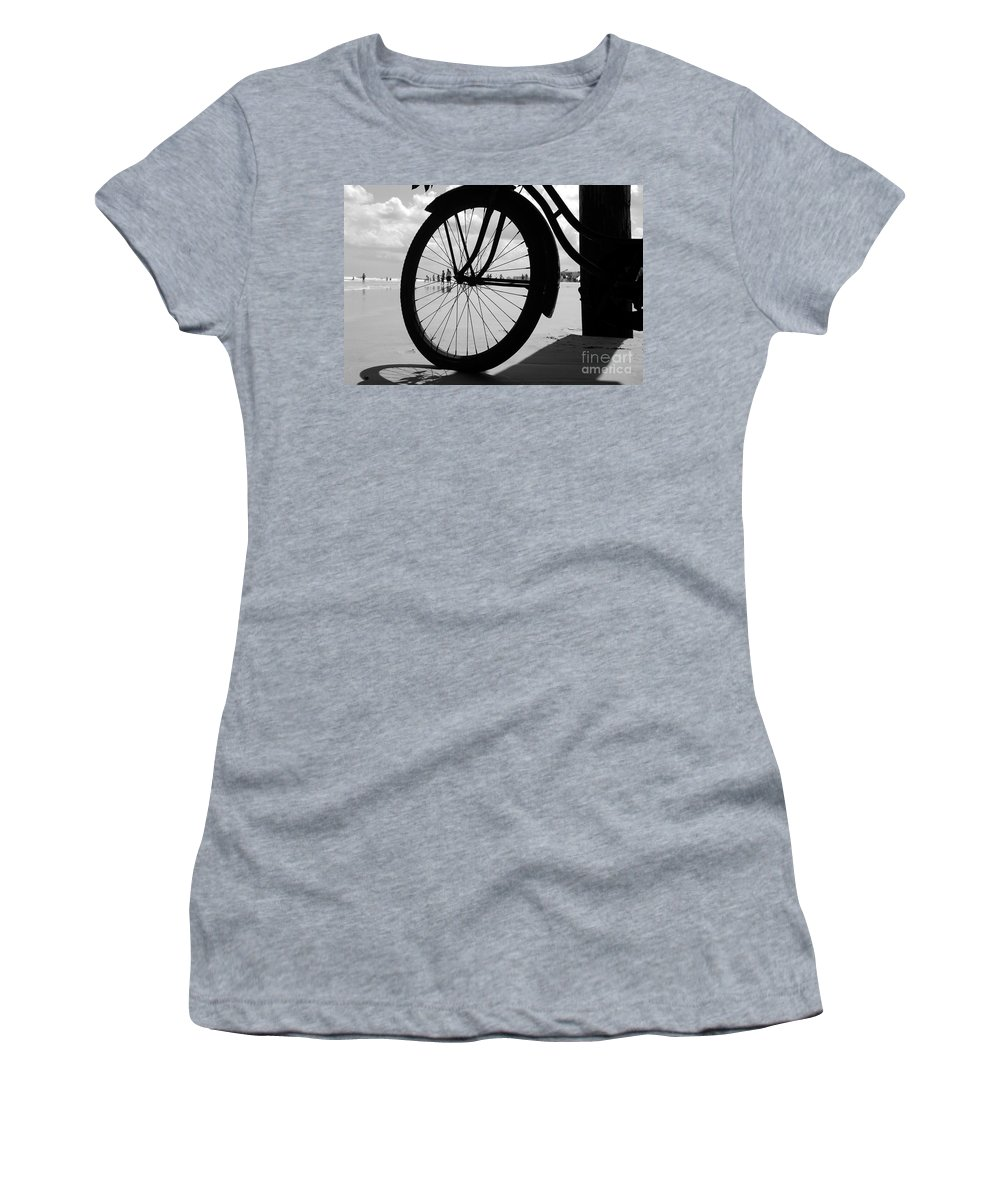 Beach Women's T-Shirt (Athletic Fit) featuring the photograph Beach Bicycle by David Lee Thompson