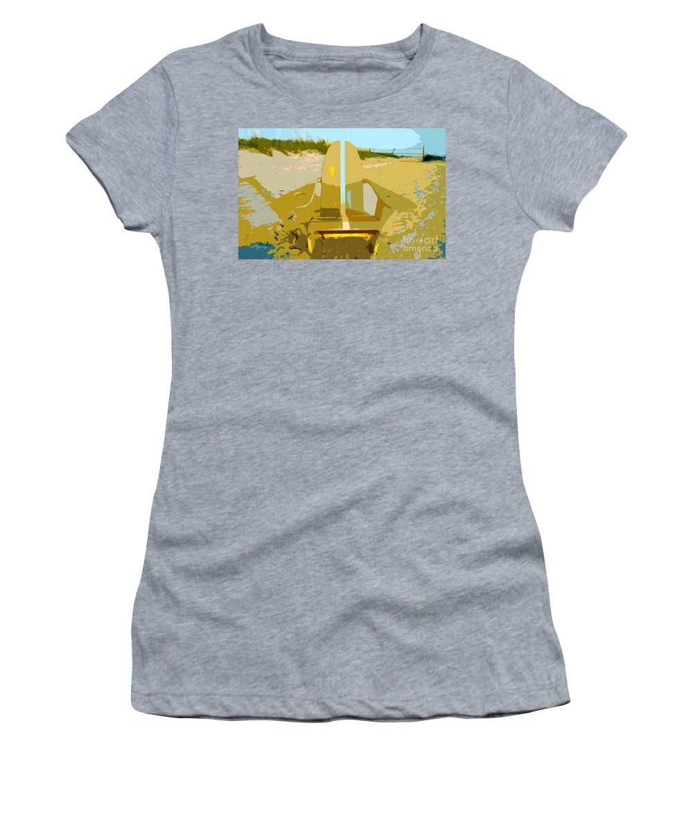 Beach Chair Women's T-Shirt (Athletic Fit) featuring the painting Beach Chair Work Number 3 by David Lee Thompson