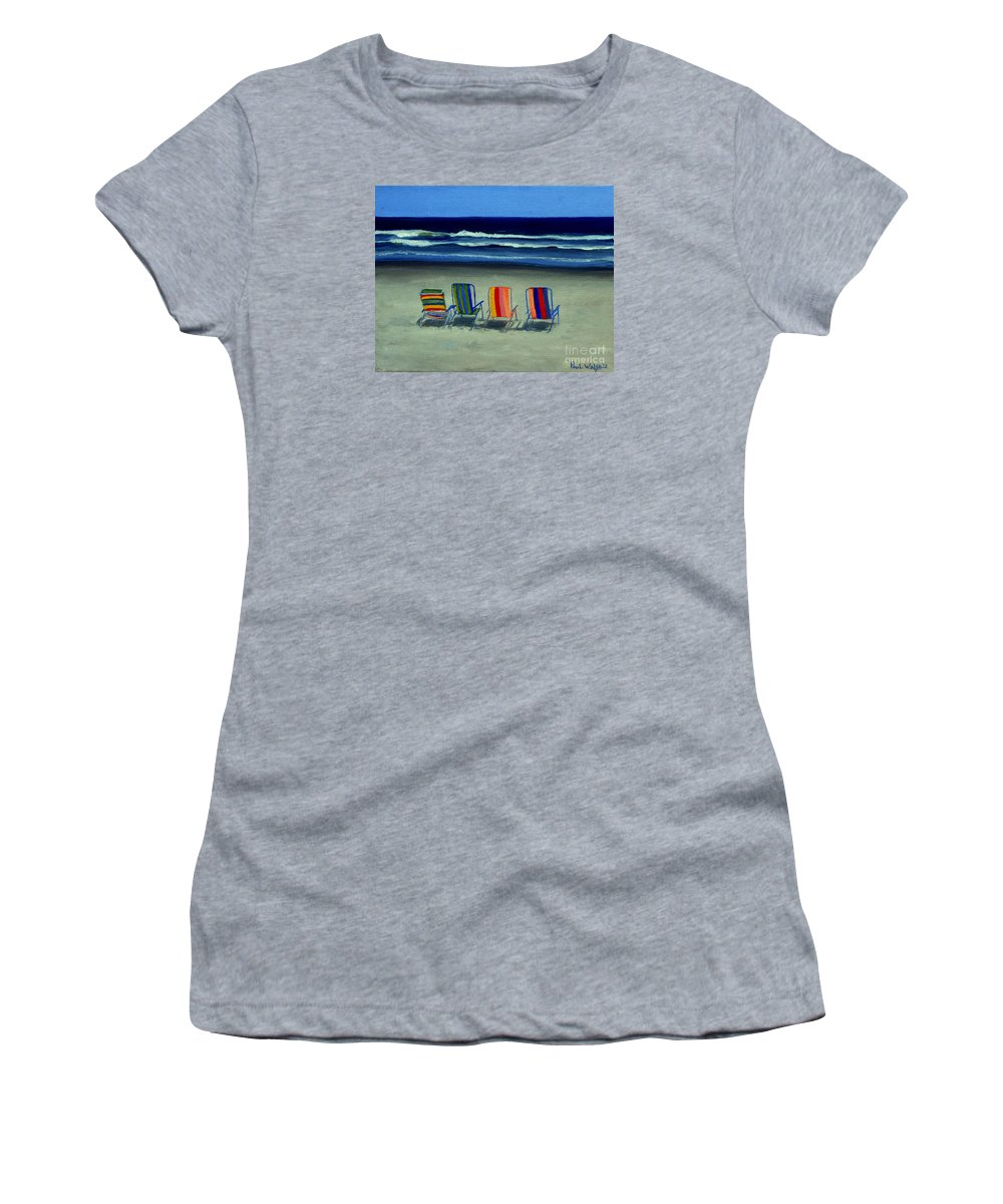 Beach Women's T-Shirt (Athletic Fit) featuring the painting Beach Chairs by Paul Walsh
