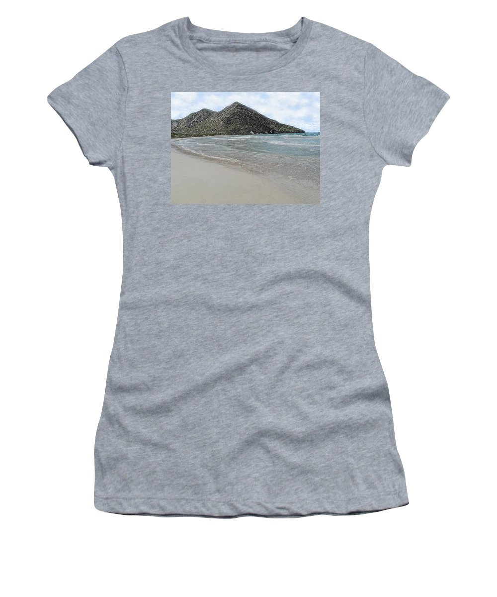 Beach Women's T-Shirt (Athletic Fit) featuring the photograph Beach Mountain Clouds by Ian MacDonald