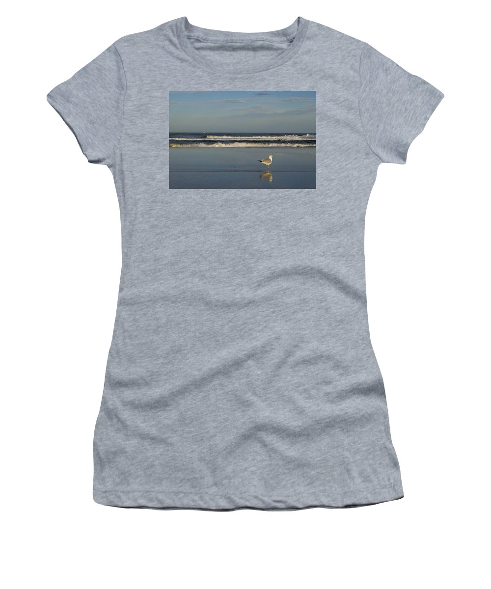 Sea Ocean Gull Bird Beach Reflection Water Wave Sky Women's T-Shirt featuring the photograph Beach Patrol by Andrei Shliakhau
